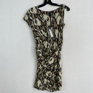 JUST CAVALLI Designer Leopard Gathered Dress NWT